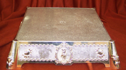 "14"" SQUARE SILVER COLOURED ORNATE CAKE  STAND"